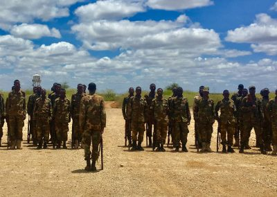 Somali National Army soldiers form up to perform their National Anthem in Baidoa 2