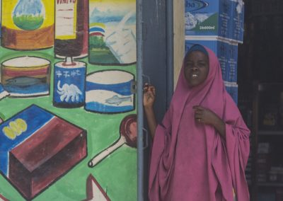 Somali girl in shop doorway 2