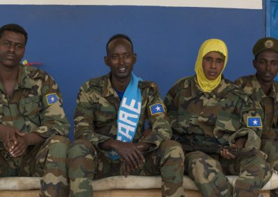Somali soldiers against their national colours