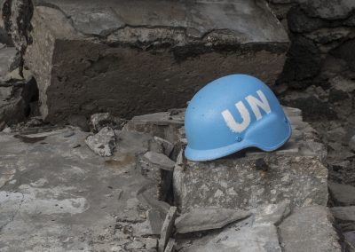UN helmet left amongst the rubble-blog