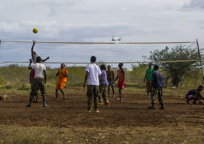 Ugandan guard force take a volleyball break